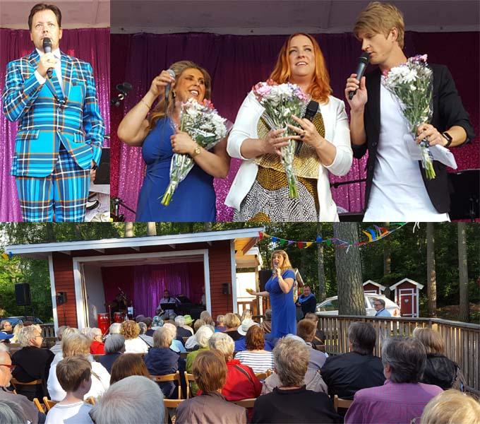 Mikael Aringsjö presenterade allsångsledaren Marina Johansson med gästartisterna Shirley Clamp och Erik Linder.